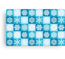 Checkered Snowflakes Canvas Print