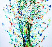 ROBERT PLANT SINGING - watercolor portrait by lautir