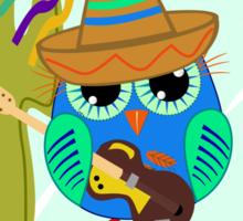 Cute Sombrero Owl with a Guitar Sticker