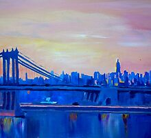 Blue Manhattan Skyline with Bridge and Vanilla Sky- by artshop77
