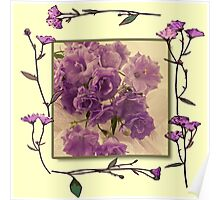 Campanella Framed With Pressed Petals Poster