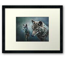Wolves in Moonlight Framed Print