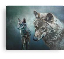 Wolves in Moonlight Metal Print