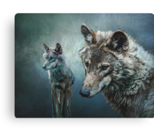 Wolves in Moonlight Canvas Print