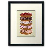Donuts Stacked on Cream Framed Print