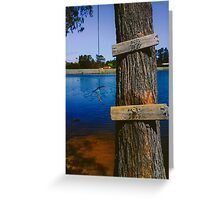 Rope swing hanging from tree above lake Greeting Card