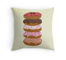 Donuts Stacked on Cream Throw Pillow