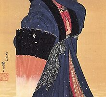'Beauty with Umbrella in the Snow' by Katsushika Hokusai (Reproduction) by Roz Abellera Art