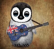 Baby Penguin Playing New Zealand Flag Guitar by Jeff Bartels