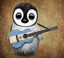 Baby Penguin Playing Nicaraguan Flag Guitar by Jeff Bartels