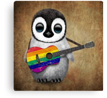 Baby Penguin Playing Gay Pride Rainbow Flag Guitar Canvas Print