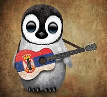 Baby Penguin Playing Serbian Flag Guitar by Jeff Bartels