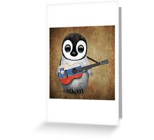 Baby Penguin Playing Slovenian Flag Guitar Greeting Card