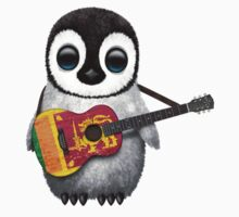 Baby Penguin Playing Sri Lanka Flag Guitar Kids Clothes