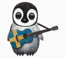 Baby Penguin Playing Swedish Flag Guitar Kids Clothes