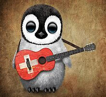 Baby Penguin Playing Swiss Flag Guitar by Jeff Bartels
