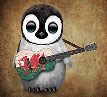 Baby Penguin Playing Welsh Flag Guitar by Jeff Bartels