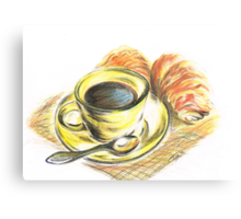 Morning Coffee with Croissants Metal Print