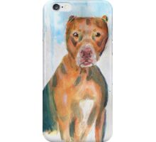 Red Nose Pit Bull Loose Watercolor Portrait iPhone Case/Skin
