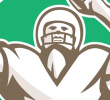 American Football Holding Ball Celebrating Shield Retro Sticker