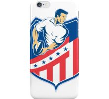 American Rugby Player Passing Ball Shield Retro iPhone Case/Skin