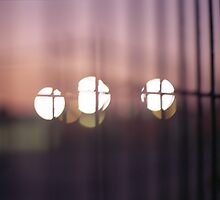 Bokeh lights through fence seen from train color analog medium format Mamiya 645 film photos by edwardolive