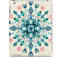 Watercolor Lotus Mandala in Teal & Salmon Pink iPad Case/Skin