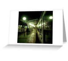 Old train at night in empty station green square Hasselblad medium format film analog photograph Greeting Card