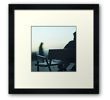 Man sitting on park bench in winter square Hasselblad medium format film analog photography Framed Print