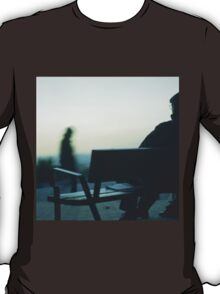 Man sitting on park bench in winter square Hasselblad medium format film analog photography T-Shirt