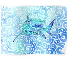Swirly Shark Poster
