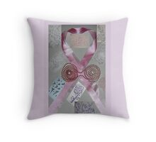 Pink Ribbons & Beads and the Art of Breast Cancer Treatment KazM Throw Pillow