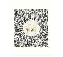 Treat Yo Self – Gold & Grey Art Print
