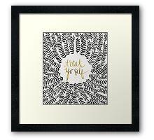 Treat Yo Self – Gold & Grey Framed Print