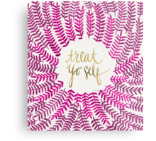 Treat Yo Self – Gold & Pink Metal Print