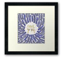 Treat Yo Self – Gold & Navy Framed Print