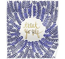 Treat Yo Self – Gold & Navy Poster