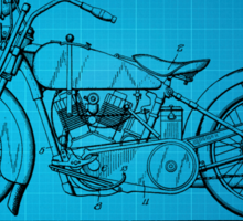 Harley Davidson Motorcycle Patent 1925 - Blue Sticker