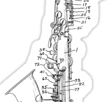 Saxophone Patent Drawing From 1933 Sticker