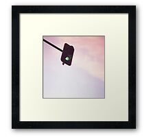 Green traffic go light signal and sky still life blue square Hasselblad medium format film analog photograph Framed Print