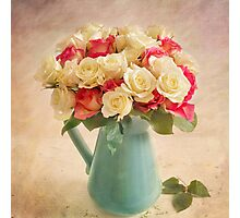 Beautiful bouquet of twenty four roses. Photographic Print