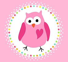 Cute pink owl with heart inside colourful polka dot border by MheaDesign