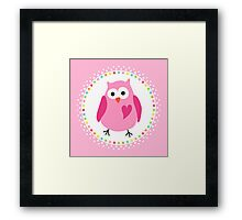 Cute pink owl with heart inside colourful polka dot border Framed Print