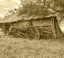 Holding each other up....Wagon & Shed..... by mitpjenkeating
