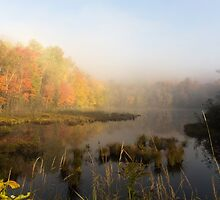 Early morning mist in fall - Mont Tremblant, QC by Josef Pittner