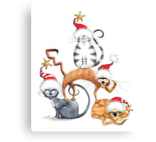 Kazart Xmas Cat Stack  Canvas Print