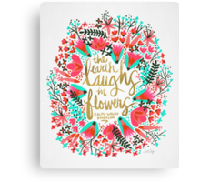 The Earth Laughs in Flowers – Pink & Gold Canvas Print