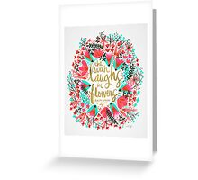 The Earth Laughs in Flowers – Pink & Gold Greeting Card