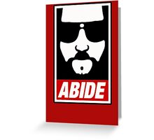 Jeff the big Lebowski abide obey poster Shepard Fairey parody Greeting Card