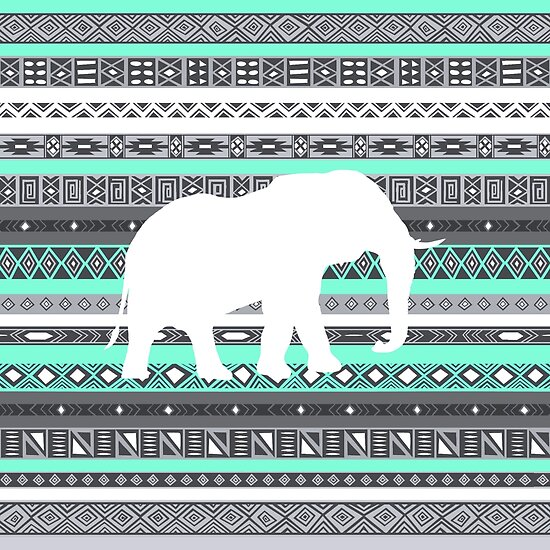 RexLambo › Portfolio › Elephant Tiffany Mint Aztec Pattern: www.redbubble.com/people/rexlambo/works/12749613-elephant-tiffany...